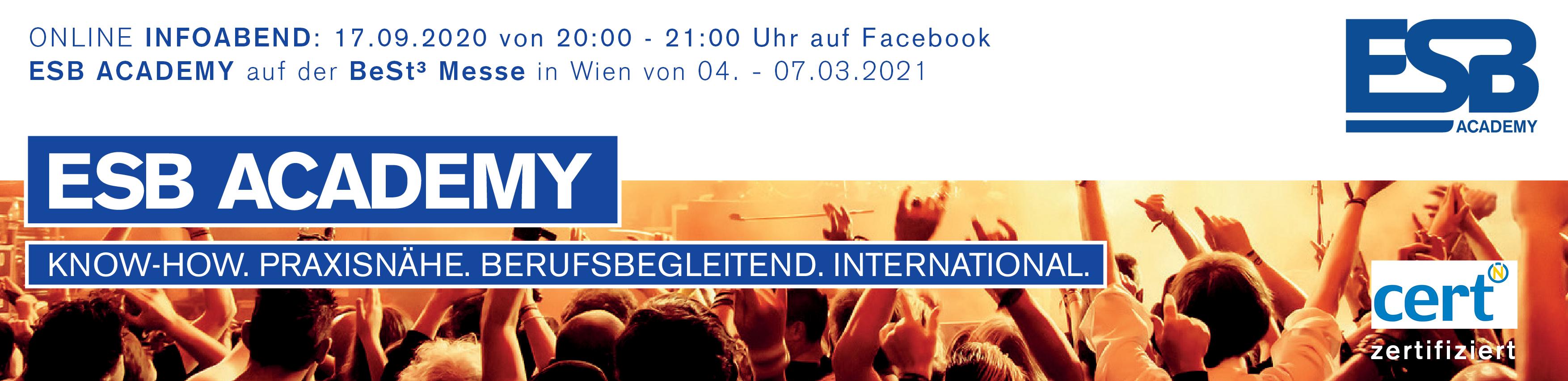 Eventmanagement Ausbildung in Wien, Linz, Salzburg und Tirol – ESB Academy Logo